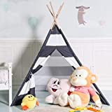Costzon Indian Play Tent 5' Cotton Canvas Children Playhouse Carry Bag Kids Teepee (Black & White Stripe)