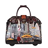 Nicole Lee Women's Stylish Taxi Ny Print Bag, Rolling Wheels, Laptop Compartment Travel Tote, Taxi Goes New York, One Size