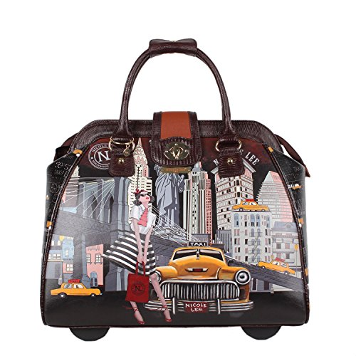 Stylish Rolling Briefcase (Nicole Lee Women's Stylish Taxi Ny Print Bag, Rolling Wheels, Laptop Compartment Travel Tote, Taxi Goes New York, One Size)