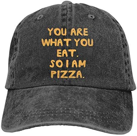 You are What You Eat So I Am Pizza Washed Denim Caps Baseball Hat Unisex