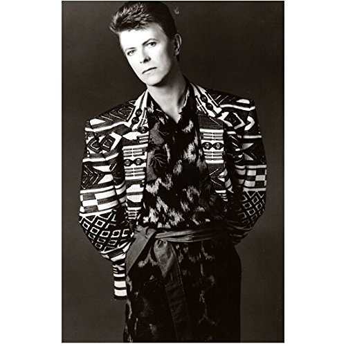 David Bowie 8 inch x 10 inch PHOTOGRAPH Labyrinth Basquiat The Hunger The Man Who Fell to Earth B&W Busy Geometric Patterned Jacket Sash at Waist Hands Behind Back kn