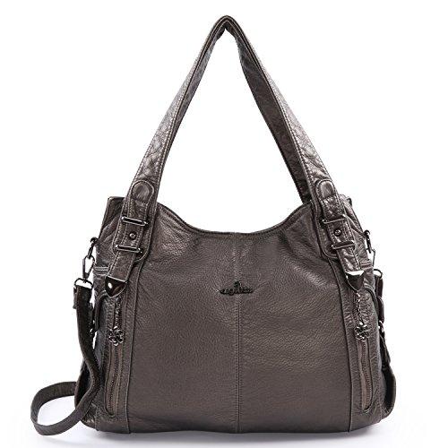 Angelkiss Women's Handbag Large Double Zipper Multi Pocket Washed Shoulder bag Designer Handbags for (Washed Handbag Purse)