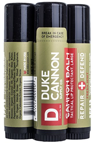 Duke Cannon Balm Tactical Lip Protectant, 0.56oz with SPF 15-3 (Peppermint Spf 15 Lip Balm)