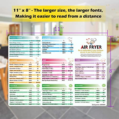 Air Fryer Magnetic Cheat Sheet Cookbook Cooker Accessories Big Magnet 11''x8'' Cooking Times Chart Kitchen Hot Air Frying Useful Gift Guide Cookbook Recipes Reference 6