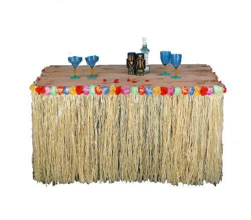 Forum Novelties Hawaiian Luau Party Fringed Table Skirt with Hibiscus Flowers -