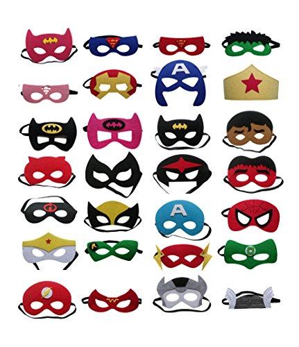 YOU YAN Kids Felt Superhero Masks Party Dress Costume Cartoon Comics Masks (28 (Superhero Face Masks)