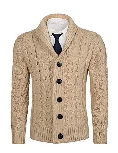 MIEDEON Mens Casual Stand Collar Cable Knitted Button Down Cardigan Sweater (M, KBeige) (Cable Mens Cable)