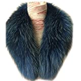 Gegefur Women's Detachable Genuine Raccoon Fur Collar Scarf 6 color (80cm, blue-5)