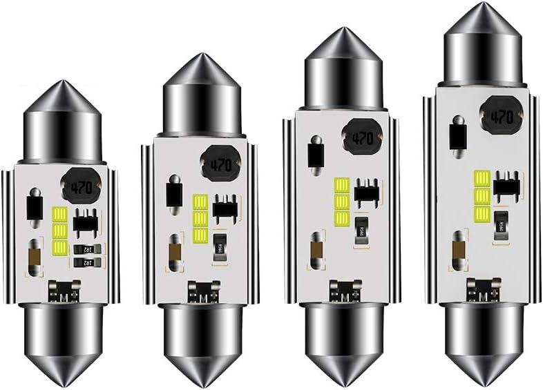 4 unidades Bombillas LED sin errores Festoon C5W 31 36 39 41 mm 6000 K de luz blanca CSP 1818 para luces de puerta de matr/ícula interior de coche SUMOZO Canbus