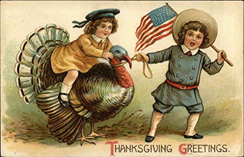 Thanksgiving Greetings. Boy with Flag and Girl on Turkey Patriotic Original Vintage Postcard from CardCow Vintage Postcards