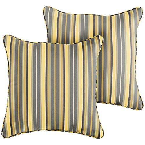 (1101Design Sunbrella Foster Metallic Corded Decorative Indoor/Outdoor Square Throw Pillow, Perfect for Patio Decor - Yellow Grey Stripe 16