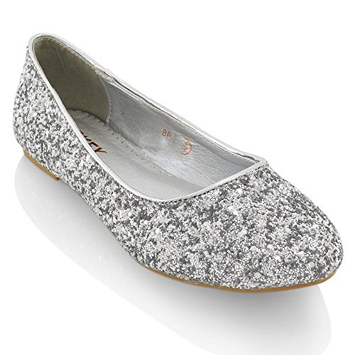 Essex Glam Womens Silver Glitter Bridal Dolly Pumps Shoes 8 2A(N) US