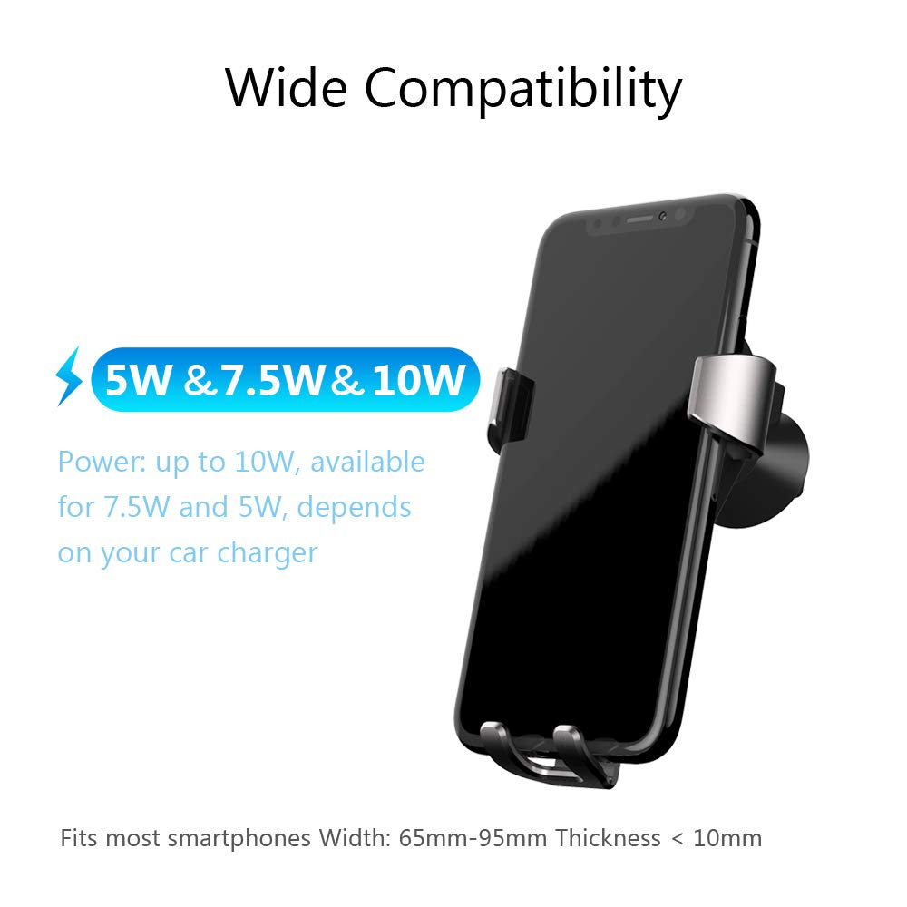 Samsung Galaxy S9//S8 Note 8//Note 5 andere QI Bef/ähigte Ger/äte QI Ladeger/ät Kabelloses Kfz Induktionsladeger/äte 10W Air Vent Handy Halterung f/ür iPhone XS Max X JSVER Wireless Charger Auto