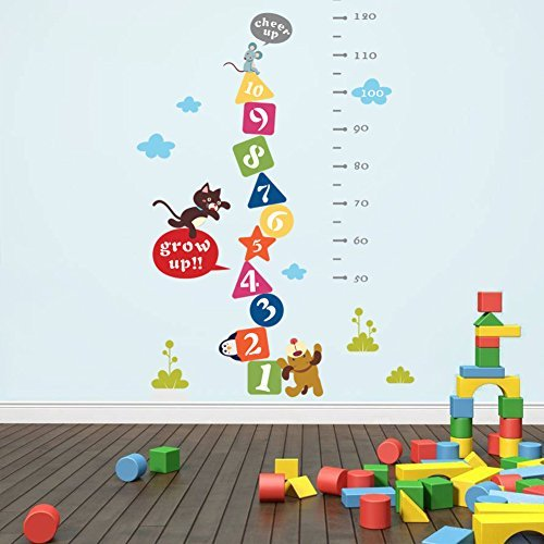 VanBest Children Grow Up Height Measurement Wall Stickers Growth Chart Measures with Quote Removable DIY Wall Decals for Baby Kid Room Kindergarten Mural Art Decoration