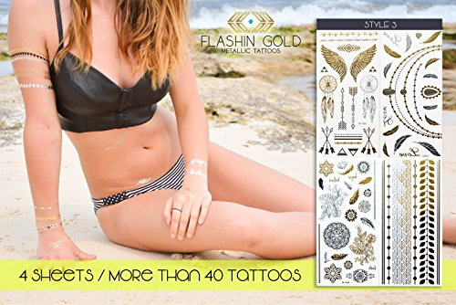 [Metallic Tattoos Gold, Silver, Black & Blue, Best Temporary Color Body Tattoos -4 Sheets Pack of Most Popular & Stylish Designs- Jewelry, Bracelets, Bands, Necklace, Tribal Style, Mandalas, Style] (Fairy Wing Tattoos)