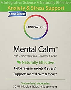 Rainbow Light - Mental Calm, 30 Count, Natural Anxiety & Stress Support