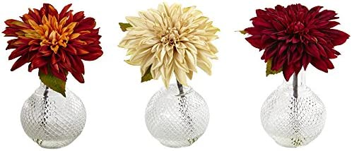 Nearly Natural Dahlia with Decorative Vase Set of 3