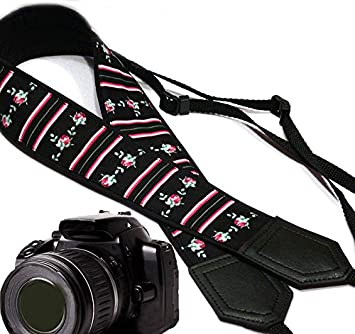 Light Weight and Well Padded Camera Strap Tiny Roses and Stripes Camera Strap Camera Accessories Black DSLR Camera Strap Code 00053 Durable InTePro Flowers Camera Strap