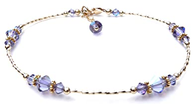 DAMALI Yellow Gold Filled Swarovski Crystal Anklet Adjustable Handmade Simulated Birthstone Blue Zircon - December EFwzSA