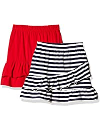Girls' 2 Packs 100% Cotton Flared Stripe and Solid Pull On Jersey Skirt
