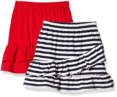 Cotton Skort Girl - Kid Nation Girls' 2 Packs 100% Cotton Flared Stripe and Solid Pull On Jersey Skirt L Navy + Red