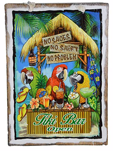 NO Shoes NO Shirt NO Problem Tiki BAR Open Sign Beautiful Beach Parrots Drinking Sunset Palm Tree Tropical Island Decor