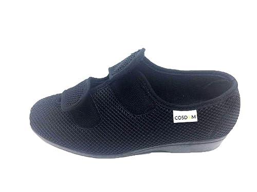 3e8a04ffcc0b4 COSDAM Espadrilles Sandale Pantoufle Femme Largeur SPÉCIAL Fermeture Facile Couleur  Noire