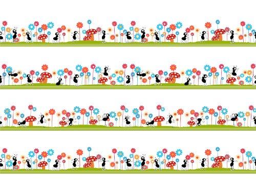 12-x-16-inch-30-x-40-cms-seamless-ants-pattern-kids-bug-mushroom-flower-children-fine-art-print-post
