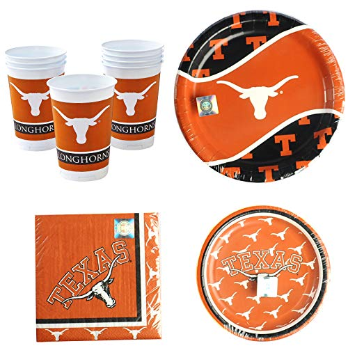 Texas Longhorns Party Bundle for 8 - Plates, Napkins, Cups