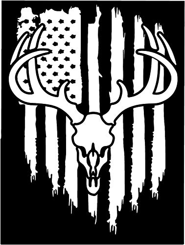 Firehouse Graphics American Flag White Tail Deer Antler Hunting Buck Vinyl die Cut Sticker Decal Listed for Charity Pledge of Allegiance (8