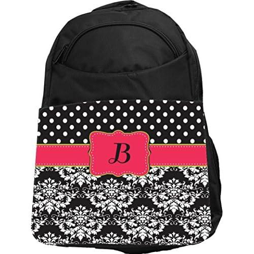 """Rikki Knight UKBK Letter """"B"""" Pink Green Black Damask Dots Tech BackPack - Padded for Laptops & Tablets Ideal for School or College Bag BackPack"""