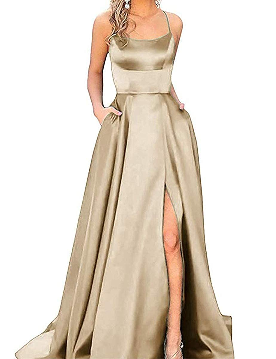 Champagne ZLQQ Split Formal Evening Gowns Spaghetti Straps Satin Prom Dresses Long with Pockets Womens