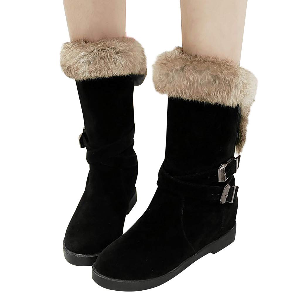 Dainzuy Women's Mid Calf Fashion Winter Snow Boots Warm Furry Faux Fur Lining Flats Suede Boots with Buckles by Dainzuy Women's Shoes