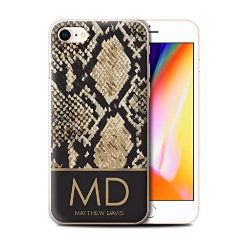 (Personalized Custom Fashion Animal Print Pattern Case for Apple iPhone 8 / Snake Skin Effect Design/Initial/Name/Text DIY Cover)