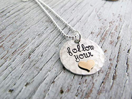 Follow Your Heart Necklace, Sterling Silver with Gold Heart, Hand Stamped