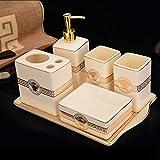 GTVERNH-Recipients Of Gifts Ceramic Vanity Set 6-Piece Bathroom Home Wash With Tray Functional Bathroom 6 Piece Set
