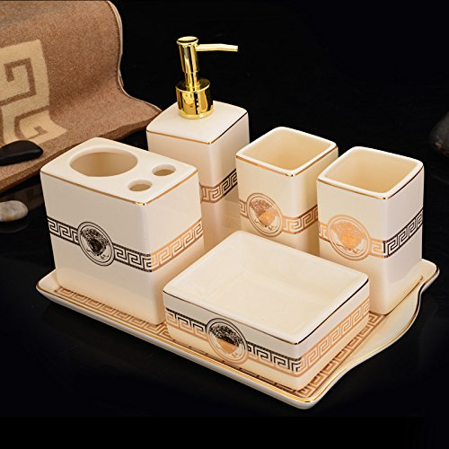 GTVERNH-Recipients Of Gifts Ceramic Vanity Set 6-Piece Bathroom Home Wash With Tray Functional Bathroom 6 Piece Set