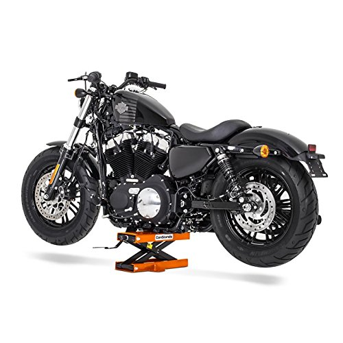 orange XL 1200 X Motorcycle jack scissor lift ConStands Mini Harley Davidson Sportster Forty-Eight 48