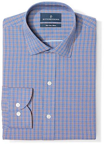 Slim Fit Spread Collar Pattern, Navy/Brown Plaid, 16