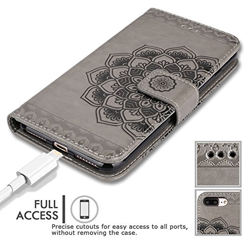 iPhone 8 Plus Case,iPhone 7 Plus Flip Embossed Leather Wallet Cases with Protective Detachable Slim Case Fit Car Mount,CASEOWL Mandala Flower Design with Card Slots, Strap for iPhone 7/8 Plus[Gray] by CASEOWL (Image #6)
