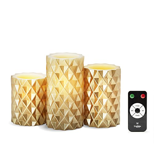 3 Gold Geometric Flameless Pillar Candles, Wax, Warm White LEDs,...