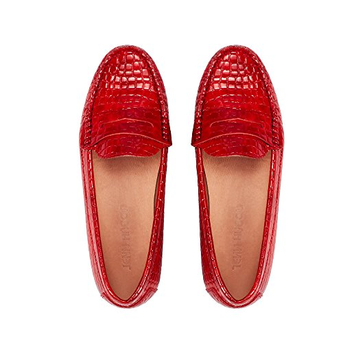 - JENN ARDOR Penny Loafers for Women: Vegan Leather Slip-On Comfortable Driving Moccasins Ballet Flats Red 6.5 M US