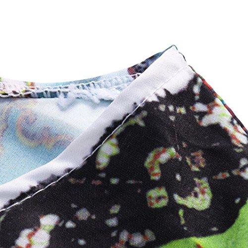Trapeze Casual Boho Vestido Elegante Vestido Mujeres 8 de Fiesta Sin Impreso Mini Mangas Suelta Blanco Falda Vintage Elegante Cuello Verano Adeshop Redondo Noche RwxvdOO