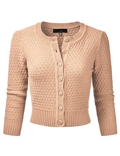 EIMIN Women's Crewneck Button Down 3/4 Sleeve Knit Crop Cardigan Sweater TAN S