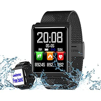 Smart Watch, Fitness Tracker Heart Rate & Blood Pressure & Sleep Monitor Compatible iOS & Android, Waterproof Steel Activity Tracker Color Screen, ...