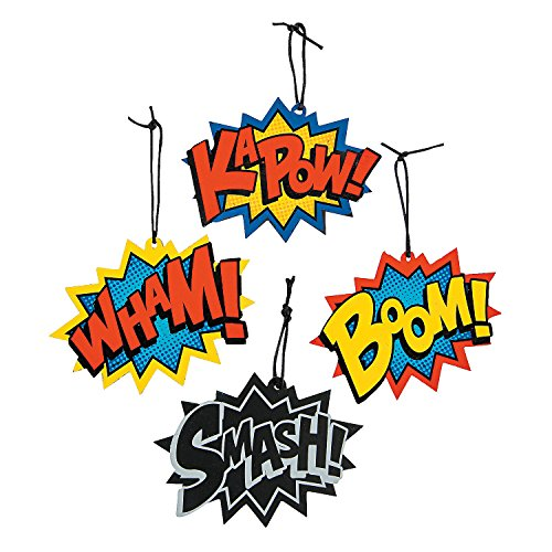Fun Express - Superhero Words Magic Scratch - Craft Supplies - Magic Scratch - Shapes & Paper - 24 Pieces]()
