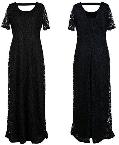 Women Sexy Round Neck Short Sleeve Plus Size Backless Full Lace Maxi Dress