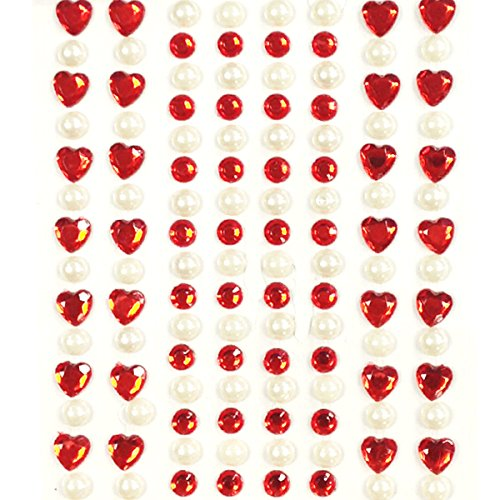AllyDrew 164 pieces Crystal Heart and Pearl Stickers Adhesive Rhinestones, Red
