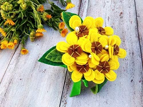 Alfiletero de pulsera fieltro hecho a mano, Alfiletero flores Herramientas de costura