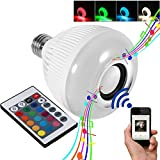 RAYWAY Led Music Bulb, Wireless Bluetooth Speaker LED Light Bulb , Smart Dimmable White RGB Color Light Party Bulb - Works with iPhone, iPad, Android Phone and Tablet
